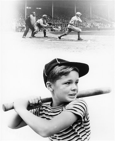 1930s MONTAGE OF BOY AT BAT WITH PROFESSIONAL BASEBALL GAME IN PROGRESS Stock Photo - Rights-Managed, Code: 846-02791947