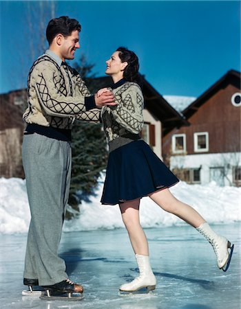 1940s 1950s SMILING COUPLE ICE SKATING Stock Photo - Rights-Managed, Code: 846-02792329