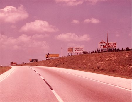 1950s 1960s EMPTY HIGHWAY WITH BILLBOARDS Stock Photo - Rights-Managed, Code: 846-02792660