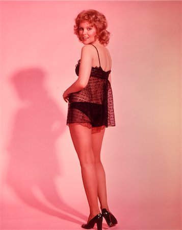 1960s WOMAN WEARING SEXY BLACK NEGLIGEE Stock Photo - Rights-Managed, Code: 846-02792683