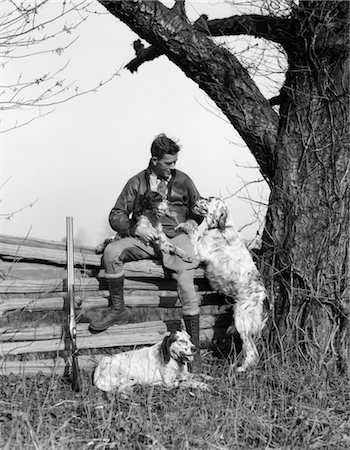 sitting under tree - 1930s MAN IN JODHPURS & LEATHER JACKET SITTING ON POST & RAIL FENCE UNDER TREE WITH 3 HUNTING DOGS Stock Photo - Rights-Managed, Code: 846-02793026