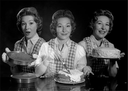 simsearch:846-02793283,k - 1950s TRIPLE EXPOSURE SMILING WOMAN HOUSEWIFE IN APRON WITH CAKE LAYERS FROSTING AND COMPLETED CAKE LOOKING AT CAMERA Stock Photo - Rights-Managed, Code: 846-02793205