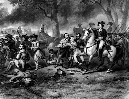 ENGRAVING OF GEORGE WASHINGTON ON HORSEBACK LEADING TROOPS AT BATTLE OF MONONGAHELA FRENCH AND INDIAN WAR 1754-1763 Stock Photo - Rights-Managed, Code: 846-02793296