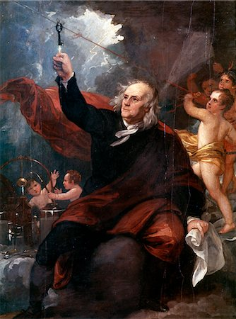 storm lightning - PAINTING OF BENJAMIN FRANKLIN TOUCHING KEY ATTACHED TO KITE STRING IN LIGHTNING STORM FEELING ELECTRICITY SCIENCE Stock Photo - Rights-Managed, Code: 846-02793840