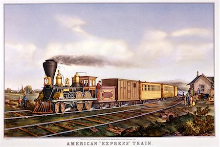 CURRIER AND IVES LITHOGRAPH EARLY AMERICAN EXPRESS RAILROAD TRAIN STEAM ENGINE BAGGAGE PASSENGER CARS Stock Photo - Rights-Managed, Code: 846-02793867