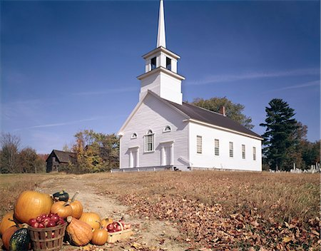 1960s AUTUMN CHURCH IN BURKE HOLLOW VT WITH HARVEST BASKET IN FOREGROUND Stock Photo - Rights-Managed, Code: 846-03164049