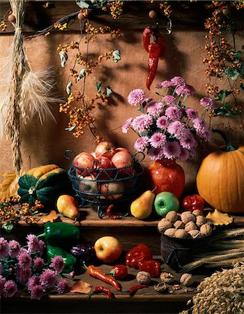 seasonal - DISPLAY OF AUTUMN HARVEST FRUITS GRAINS AND FLOWERS Stock Photo - Rights-Managed, Code: 846-03164588