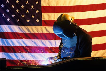 sparks with white background - WELDER IN FRONT OF AMERICAN FLAG Stock Photo - Rights-Managed, Code: 846-03164668