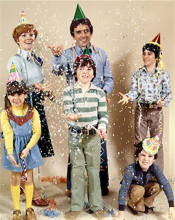 family image and confetti - 1970s FAMILY PARTY CONFETTI Stock Photo - Rights-Managed, Code: 846-03164849