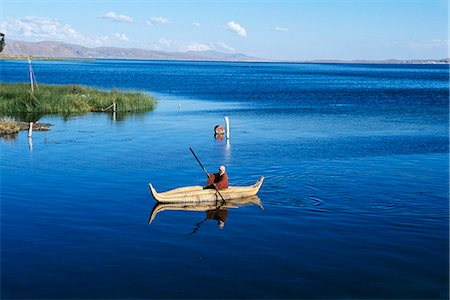 south - BOLIVIA LAKE TITICACA AYMARA INDIAN MAN IN TOTORA REED BOAT Stock Photo - Rights-Managed, Code: 846-03165334