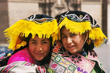 south - CUZCO, PERU INDIAN GIRLS IN COLORFUL NATIVE DRESS Stock Photo - Rights-Managed, Code: 846-03165385