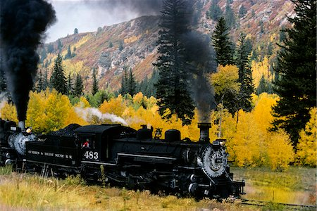 steam engine - NARROW GAUGE RAILROAD IN AUTUMN CHAMA NEW MEXICO Stock Photo - Rights-Managed, Code: 846-03165644