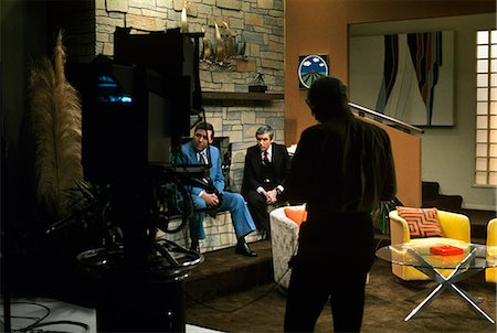 1970s MEN IN FRONT OF CAMERA TELEVISION NEWS STUDIO Stock Photo - Rights-Managed, Code: 846-03166121