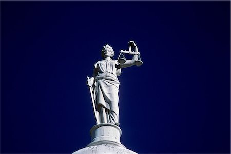 STATUE OF JUSTICE CITY HALL NEW YORK CITY NEW YORK Stock Photo - Rights-Managed, Code: 846-03163141
