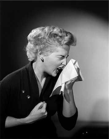 people coughing or sneezing - 1950s WOMAN SNEEZING COLD Stock Photo - Rights-Managed, Code: 846-03163181