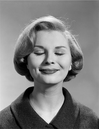 1960s WOMAN SMILE EYES CLOSED Stock Photo - Rights-Managed, Code: 846-03163298