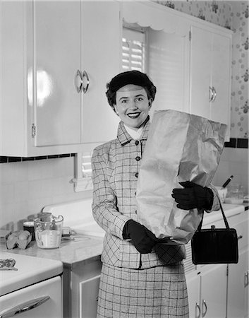 1950s WOMAN SHOPPING FOOD KITCHEN Stock Photo - Rights-Managed, Code: 846-03163377