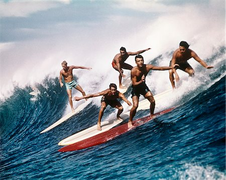 1960s 1970s FIVE MEN SURFING Stock Photo - Rights-Managed, Code: 846-03163631