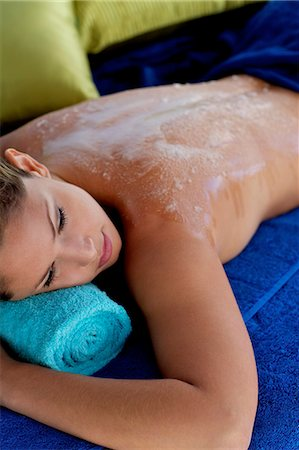 Beautiful girl with exfoliating scrub on her back Stock Photo - Rights-Managed, Code: 847-05809868