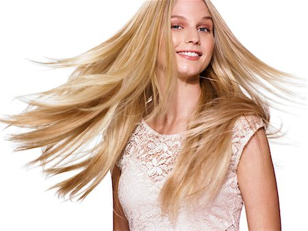 Beautiful blonde girl shaking her hair Stock Photo - Rights-Managed, Code: 847-06052574