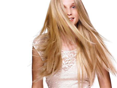 Beautiful blonde girl shaking her hair Stock Photo - Rights-Managed, Code: 847-06052575
