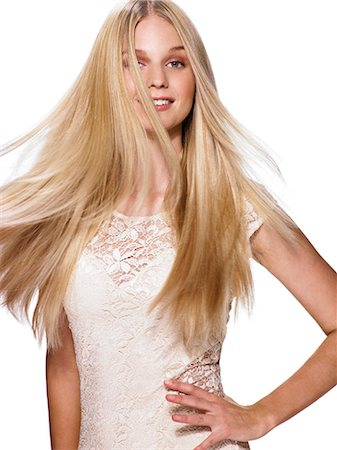 Beautiful blonde girl shaking her hair Stock Photo - Rights-Managed, Code: 847-06052578
