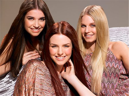 Three friends with beautiful hair Stock Photo - Rights-Managed, Code: 847-06052669