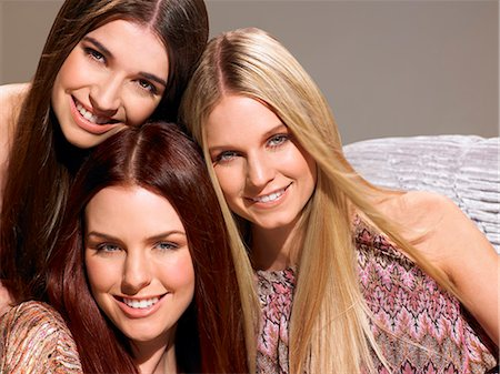 Three friends with beautiful hair Stock Photo - Rights-Managed, Code: 847-06052674