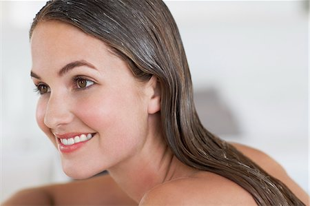 Beautiful woman with clean conditioned hair Stock Photo - Rights-Managed, Code: 847-06540655