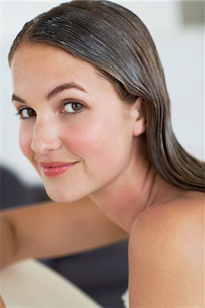 Beautiful woman with clean conditioned hair Stock Photo - Rights-Managed, Code: 847-06540656