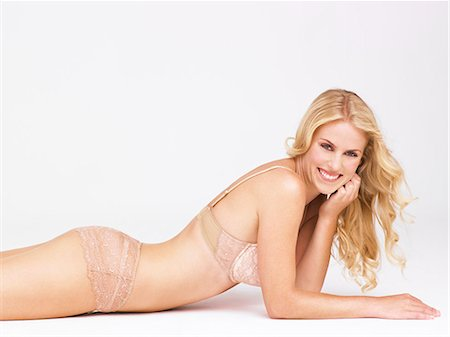 Body shot of beautiful blonde woman wearing lingerie Stock Photo - Rights-Managed, Code: 847-08522778