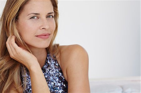 Portrait of beautiful blonde woman in sequin dress Stock Photo - Rights-Managed, Code: 847-08581365