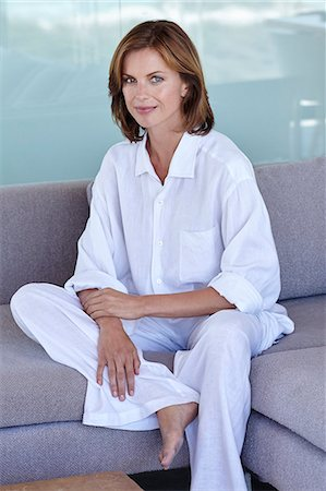Beautiful mature woman relaxing in white linen. Stock Photo - Rights-Managed, Code: 847-08655640