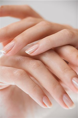 Close up of hands with natural nails Stock Photo - Rights-Managed, Code: 847-02781797