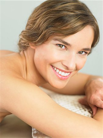 Happy, engaging woman smiling Stock Photo - Rights-Managed, Code: 847-02782069