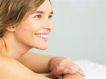 Happy, engaging woman smiling Stock Photo - Rights-Managed, Code: 847-02782062