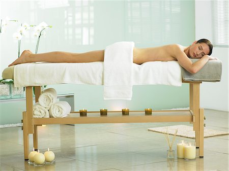 Full length of woman on spa massage bed Stock Photo - Rights-Managed, Code: 847-02782305