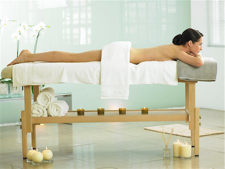 Full length of woman on spa massage bed Stock Photo - Rights-Managed, Code: 847-02782306