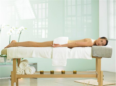 Full length of woman on spa massage bed Stock Photo - Rights-Managed, Code: 847-02782308