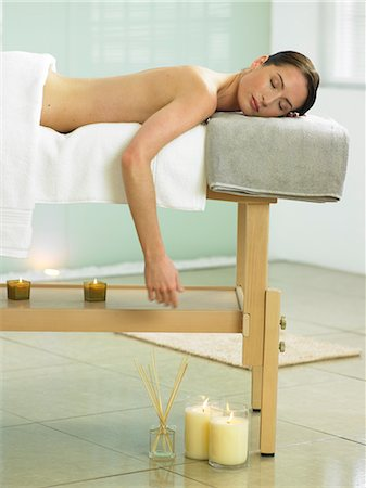 Woman lying on massage table in spa location Stock Photo - Rights-Managed, Code: 847-02782317