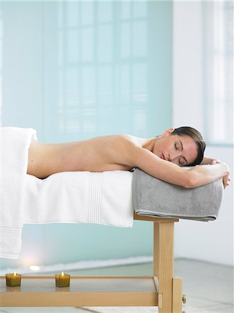 Woman lying on massage table in spa location Stock Photo - Rights-Managed, Code: 847-02782321