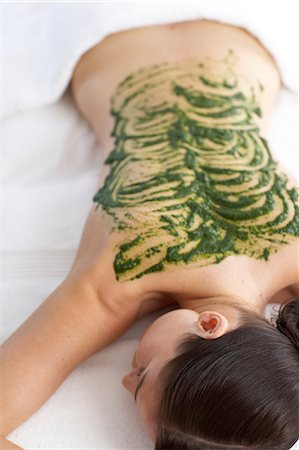Woman resting with seaweed treatment on back Stock Photo - Rights-Managed, Code: 847-02782392
