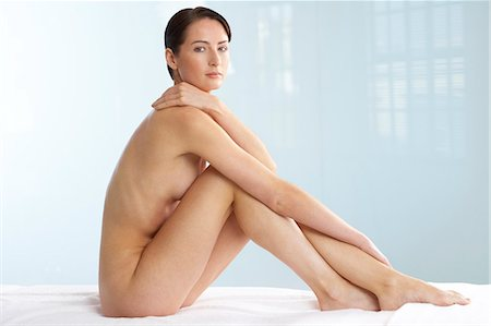 Beautiful naked woman sitting up Stock Photo - Rights-Managed, Code: 847-02782409