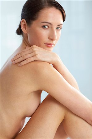 Beautiful naked woman sitting up Stock Photo - Rights-Managed, Code: 847-02782423