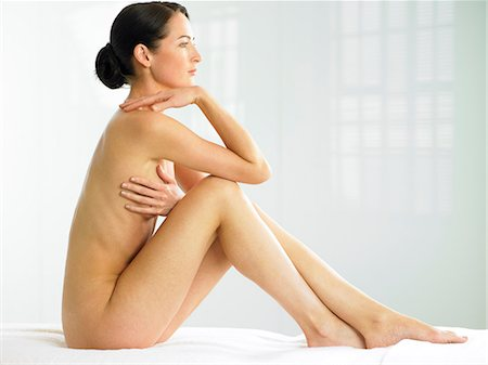 Beautiful naked woman sitting up Stock Photo - Rights-Managed, Code: 847-02782463