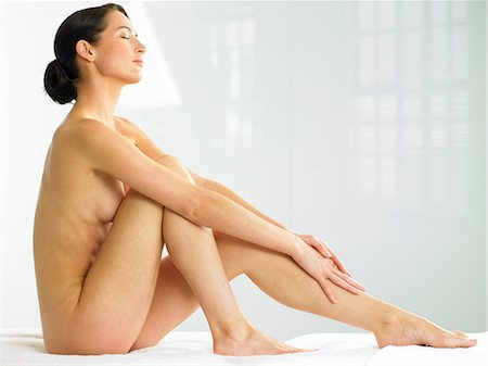Beautiful naked woman sitting up Stock Photo - Rights-Managed, Code: 847-02782473