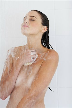 Portrait of beautiful nude woman showering. Stock Photo - Rights-Managed, Code: 847-02782853