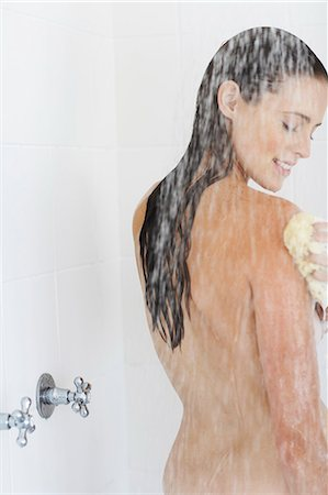 Portrait of beautiful nude woman showering. Stock Photo - Rights-Managed, Code: 847-02782864