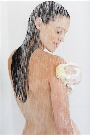 Portrait of beautiful nude woman showering. Stock Photo - Rights-Managed, Code: 847-02782862