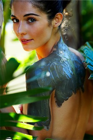 Natural woman with mud mask in exotic location Stock Photo - Rights-Managed, Code: 847-02801014